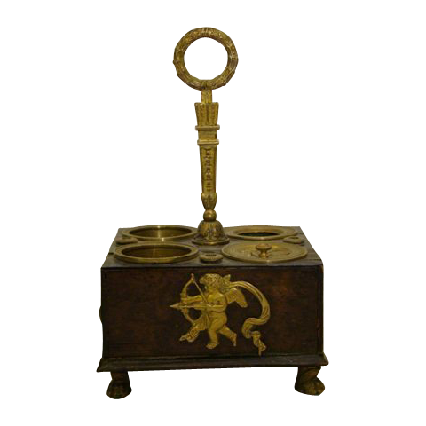 French empire burl wood and ormolu inkstand inkwell