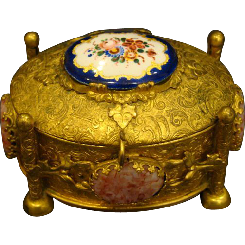 Gilded bronze dresser box with porcelain and stone insets