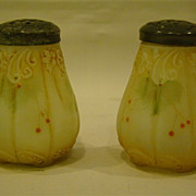 Mount Washington pair enameled floral berry salt shakers