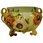 Limoges hand painted swan handled jardiniere poppies