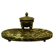 Egyptian sphinx bronze and green marble antique inkwell