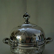 Wilcox Victorian silverplate butter dish woman and cattle