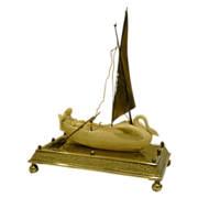 Meriden silverplate parian ware woman in swan boat centerpiece