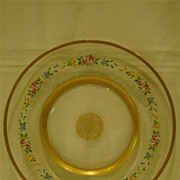 Enamel roses and floral  large glass charger