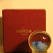 Hamon art glass pedestal paperweight blue rose