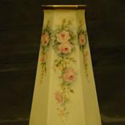 American Belleek hand painted roses vase Lenox mark
