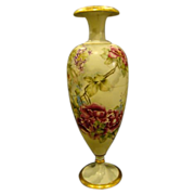 Huge Limoges hand painted floral roses bolted vase artist signed