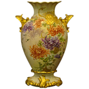 Limoges hand painted chrysanthemum vase shell handles  RARE form