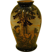 CMS Krasno cameo cut scenic art glass vase signed