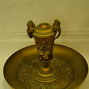 Antique Bronze dragonfly butterfly berry lamp or centerpiece