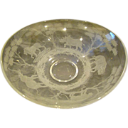 Queens Lace crystal signed Kenyan Wildlife huge centerbowl