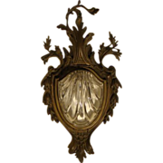 Antique French bronze and crystal wall sconce with shell