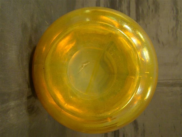 Loetz gold iridescent art glass ruffled vase from ... Irridescent Ruffled Art Glass Vase