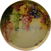 "T&V Limoges huge 16"" hand painted grapes tray charger"