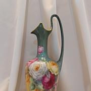 Fabulous, Huge Limoges Handled Ewer/Vase/Pitcher; Superior Roses; Rich, Deep Colors