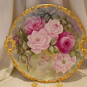 Gorgeous Limoges Handled Charger; Ornate, Rococo Blank; Layered Roses