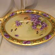 Superb Donath Studio Center Bowl; Double Violets; Signed Donath