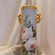 "Superb, Huge 15+"" Austria Twisted Handle Floor Vase;  Pristine White Roses"