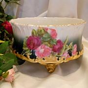 Gorgeous Limoges Ferner; T&V Roses; Factory Decorated