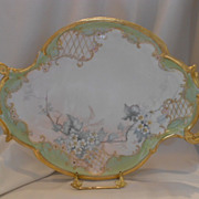 Huge, Lovely Limoges Rococo/Nouveau Tray; Delicate Roses, Latttice & Scroll