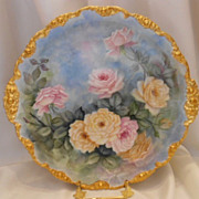 Fantastic, Large JPL Limoges Rococo Charger; Superb Roses on Blue