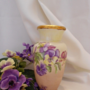 Adorable 1912 C.T. Altwassser Germany Vase; Colorful Pansies
