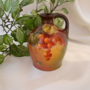 Wonderful CAC Belleek Handled Jug; Superb Hand Painted Currants