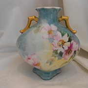 Dainty & Sweet Limoges 1904 Handled Pillow Vase; Soft Roses
