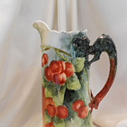 Superb Willets Belleek Dragon Handled, North Wind Spout Tankard; Rich, Ripe Cherries