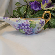 Limoges/German/Victorian Invalid or Child Feeder; Hand Painted Delicate Violets