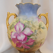 Stunning Limoges Pillow Vase; Dramatic Clematis Flowers