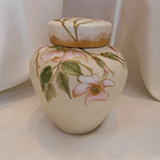 Wonderful, Near Mint Limoges Ginger Jar; Wild Roses & Falling Petals