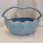 Lovely Stangl Pottery Basket; Satin Blue