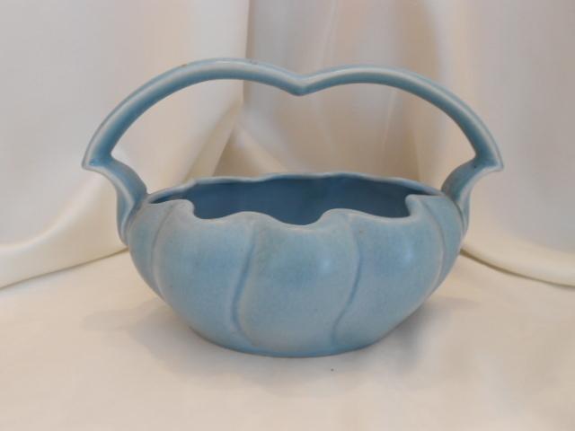 Lovely Stangl Pottery Basket; Satin Blue