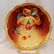 Beautiful Limoges Pickard Signed Scalloped Plate; Vibrant, Rich Strawberries/Hahn