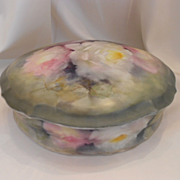 Beautiful Limoges Large Dresser Jar/Box; Watercolor Roses