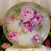 Beautiful Limoges Charger; Softly Painted Roses; Excellent Artistry