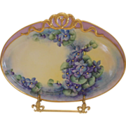 Wonderful Limoges Perfume Tray; Gold Ribbon Accent; Gorgeous Violets