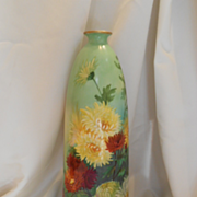 "Lovely European Tall 15"" Vase; Artist; Vibrant, Beautiful Chrysanthemums"