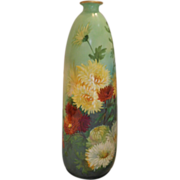 "Lovely European Tall 15"" Vase; Artist; Vibrant, Beautiful Chrysanthemums"