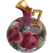 Striking Austria Bulbous Ewer; Vibrant, Deep Roses