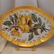 Vibrant and Beautiful 1888 Limoges Tray; Long Stemmed Yellow Roses
