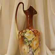 Tall, Stately & Beautiful Limoges Swoop Handled Ewer/Vase; Lovely Yellow Roses