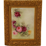Stunning Limoges Framed Tile/Plaque; Bouquet of Roses