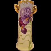 Beautiful Limoges Twisted Handle Vase; Vibrant Bearded Iris
