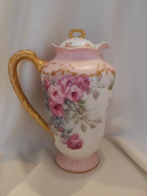 Beautiful Limoges Chocolate/Cocoa Pot; Soft, Feminine Rose Cascades