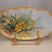Very Lovely T&V  Limoges Tray; Delightful, Colorful Buttercups; Rococo Edge