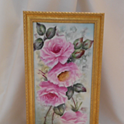 Lovely Vintage Framed Tile; Long Stemmed Roses; Artist