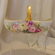 Exquisite Limoges Basket; Handpainted Roses; Artist