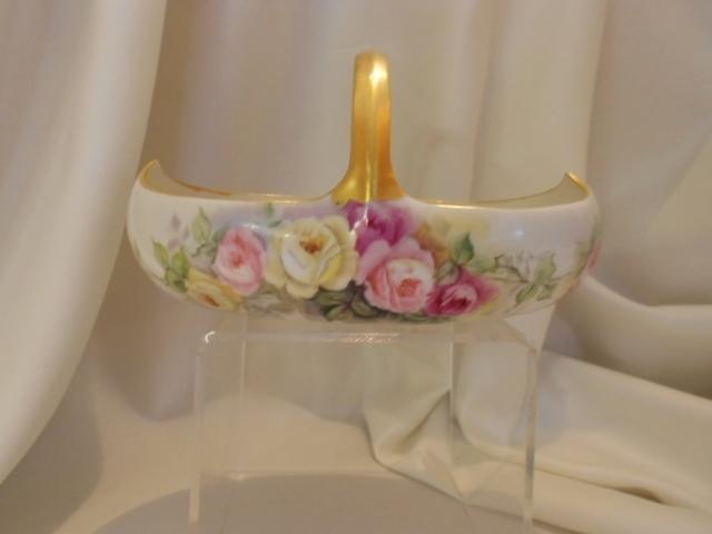 Exquisite Limoges Basket; Handpainted Roses; Artist